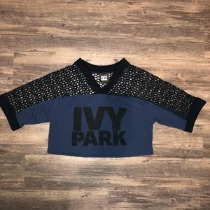 IVY PARK Cropped Mesh-armed Jersey Blue Small
